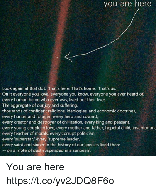 Love, Memes, and Supreme: you are here  Look again at that dot. That's here. That's home. That's us.  On it everyone you love, everyone you know, everyone you ever heard of  every human being who ever was, lived out their lives.  The aggregate of our joy and suffering.  thousands of confident religions, ideologies, and economic doctrines,  every hunter and forager, every hero and coward,  every creator and destroyer of civilization, every king and peasant,  every young couple in love, every mother and father, hopeful child, inventor and  every teacher of morals, every corrupt politician,  every 'superstar,' every supreme leader,  every saint and sinner in the history of our species lived there  on a mote of dust suspended in a sunbeam. You are here https://t.co/yv2JDQ8F6o