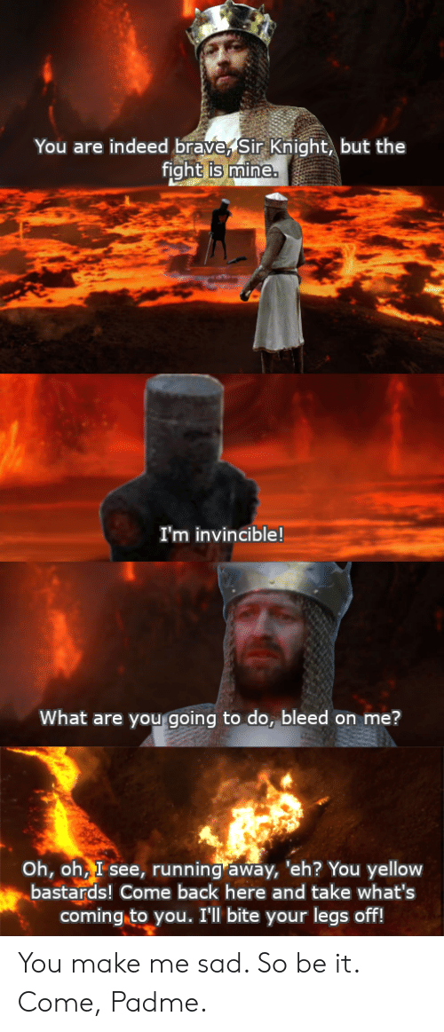 bleed: You are indeed brave, Sir Knight, but the  fight is mine.  I'm invincible!  What are you going to do, bleed on me?  Oh, oh, I see, running away, 'eh? You yellow  bastards! Come back here and take what's  coming to you. I'll bite your legs off! You make me sad. So be it. Come, Padme.