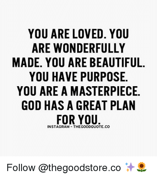 You Are Wonderful: YOU ARE LOVED. YOU  ARE WONDERFULLY  MADE. YOU ARE BEAUTIFUL.  YOU HAVE PURPOSE.  YOU ARE A MASTERPIECE.  GOD HAS A GREAT PLAN  FOR YOU  INSTA GRAM THEGOODQUOTE.CO Follow @thegoodstore.co ✨🌻