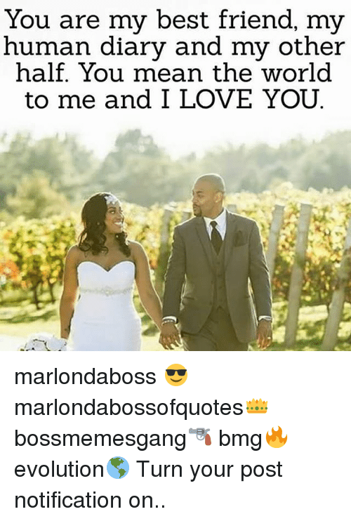 Memes, 🤖, and Human: You are my best friend, my  human diary and my other  half. You mean the world  to me and I LOVE YOU marlondaboss 😎 marlondabossofquotes👑 bossmemesgang🔫 bmg🔥 evolution🌎 Turn your post notification on..