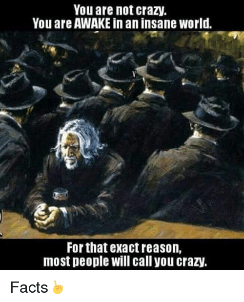 Memes, Insanity, and 🤖: You are not crazy.  You are AWAKE in an insane World.  For that exact reason,  most people will call you crazy. Facts☝