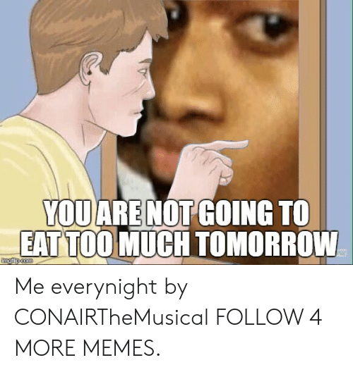 Eat Too Much: YOU ARE NOT GOING TO  EAT TOO MUCH TOMORROW  imgflip com Me everynight by CONAIRTheMusical FOLLOW 4 MORE MEMES.