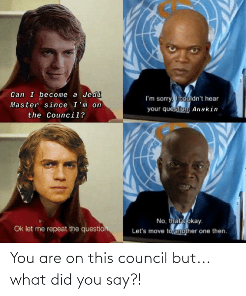 what did you say: You are on this council but... what did you say?!