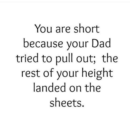 Dad, Memes, and Pull Out: You are short  because your Dad  tried to pull out; the  rest of your height  landed on the  sheets.
