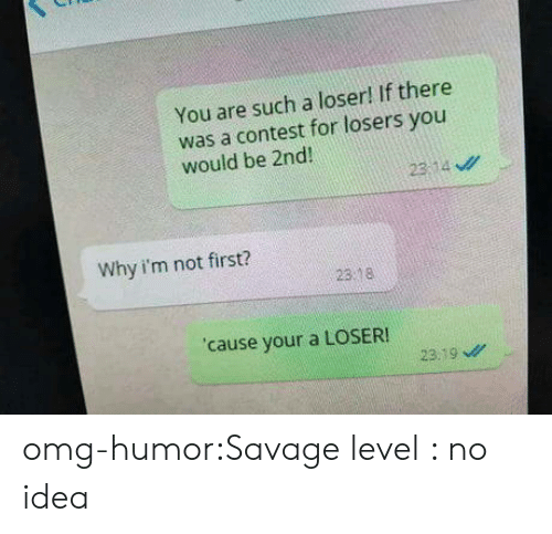 Savage Level: You are such a loser! If there  was a contest for losers you  would be 2nd  23:14 ν//  Why i'm not first?  23 8  cause your a LOSER!  23.19 omg-humor:Savage level : no idea