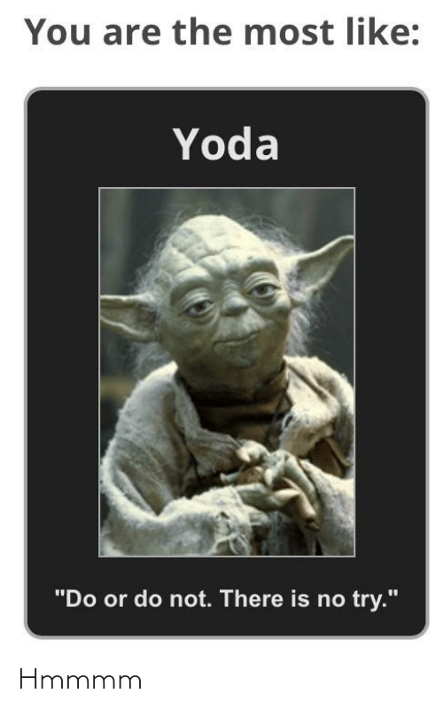 "do or do not there is no try: You are the most like:  Yoda  ""Do or do not. There is no try."" Hmmmm"