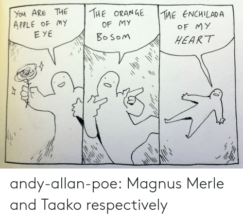 respectively: You ARE THE THEORANGE  APPLE OF my  TME ENG  |The eNCHLADA  OF MY  HEART  OF MY  EYE  oSoM andy-allan-poe: Magnus Merle and Taako respectively
