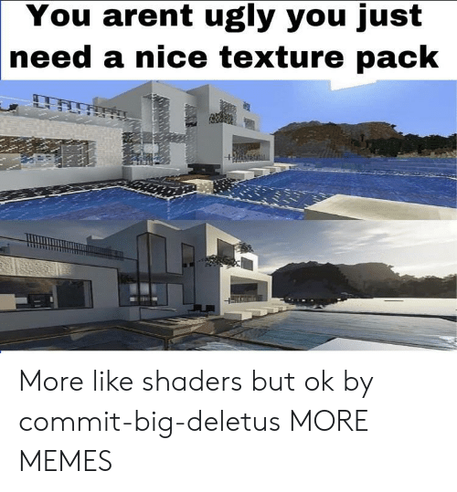 texture: You arent ugly you just  |need a nice texture pack More like shaders but ok by commit-big-deletus MORE MEMES