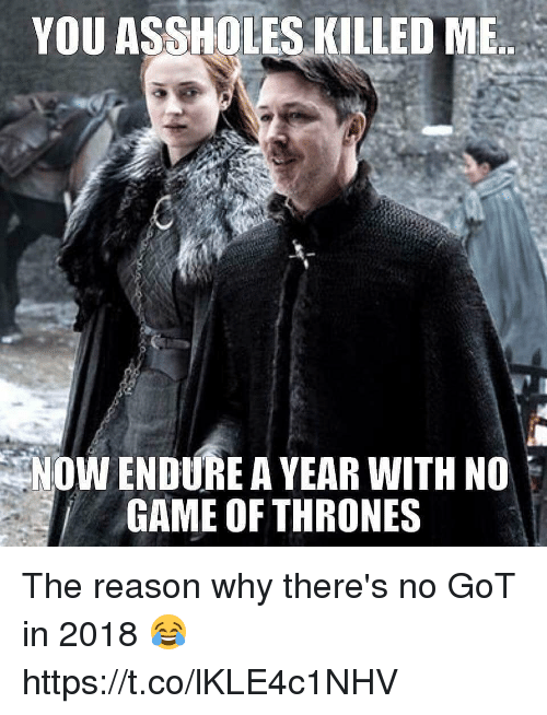 endure: YOU ASSHOLES KILLED MB  NOW ENDURE A YEAR WITH NO  GAME OF THRONES The reason why there's no GoT in 2018 😂 https://t.co/lKLE4c1NHV