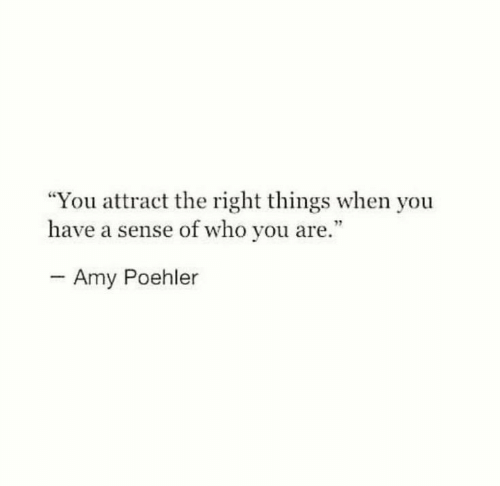 """amy: """"You attract the right things when you  have a sense of who you are.""""  - Amy Poehler"""