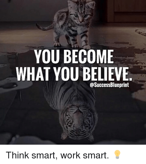 Memes, 🤖, and Working: YOU BECOME  WHAT YOU BELIEVE  @SuccessBlueprint Think smart, work smart. 💡