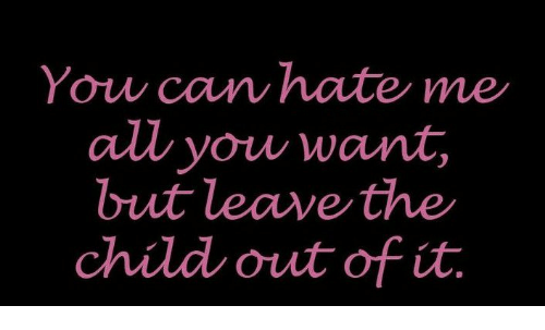 You Can Hate Me All You Want But Leave The Child Out Of It