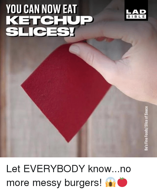 Memes, 🤖, and Ketchup: YOU CAN NOW EAT  KETCHUP  SLICESI  LAD  BIBL E Let EVERYBODY know...no more messy burgers! 😱🍅