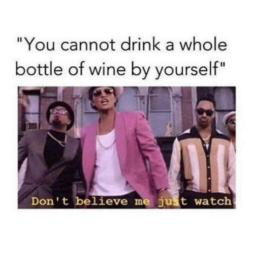 "Drinking, Memes, and Wine: ""You cannot drink a whole  bottle of wine by yourself""  Don't believe me just watch"