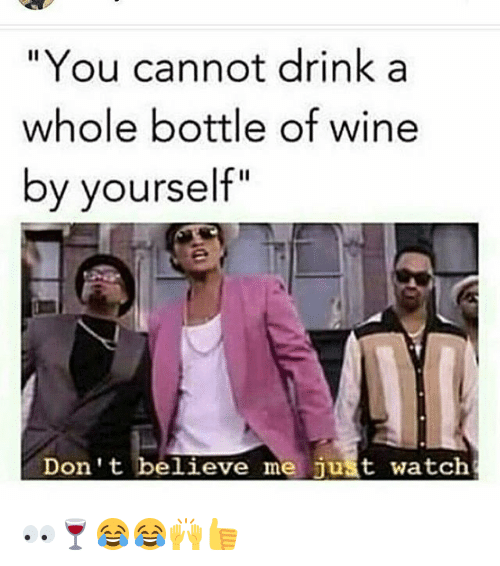"Memes, Wine, and Watch: ""You cannot drink a  whole bottle of wine  by yourself""  Don't believe me just watch 👀🍷😂😂🙌👍"