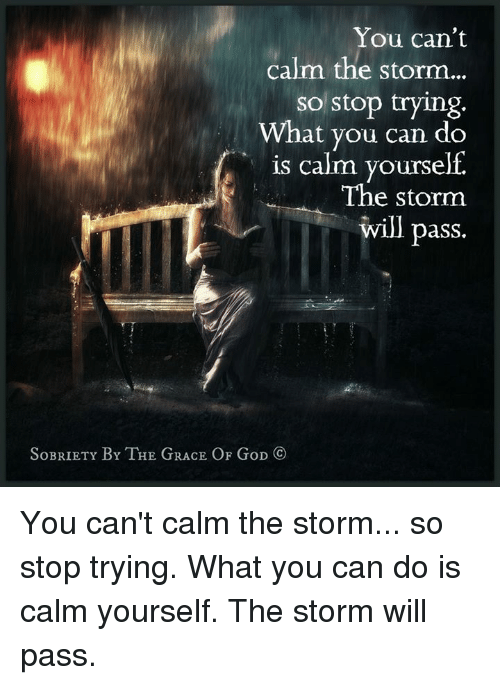 Memes, 🤖, and Storm: You can't  calm the storm  so stop trying  What you can do  is calm yourself.  The storm  will pass  SoBRIETY BY THE GRACE OF GoD CO You can't calm the storm... so stop trying. What you can do is calm yourself. The storm will pass.