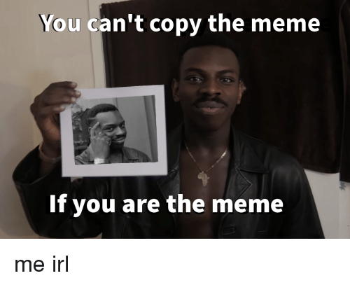 Irl: You can't copy the meme  If you are the meme me irl