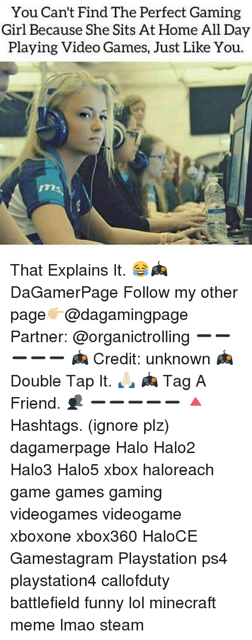 Funny Lols: You Can't Find The Perfect Gaming  Girl Because She Sits At Home All Day  Playing Video Games, Just Like You. That Explains It. 😂🎮 DaGamerPage Follow my other page👉🏼@dagamingpage Partner: @organictrolling ➖➖➖➖➖ 🎮 Credit: unknown 🎮 Double Tap It. 🙏🏻 🎮 Tag A Friend. 👥 ➖➖➖➖➖ 🔺Hashtags. (ignore plz) dagamerpage Halo Halo2 Halo3 Halo5 xbox haloreach game games gaming videogames videogame xboxone xbox360 HaloCE Gamestagram Playstation ps4 playstation4 callofduty battlefield funny lol minecraft meme lmao steam