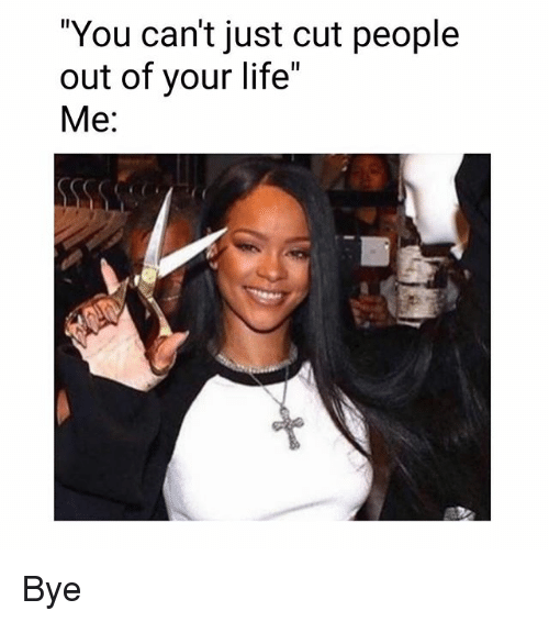 "Memes, 🤖, and Cutting: ""You can't just cut people  out of your life""  Me: Bye"