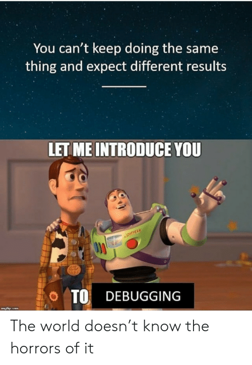 Horrors: You can't keep doing the same  thing and expect different results  LET ME INTRODUCE YOU  O TO DEBUGGING The world doesn't know the horrors of it