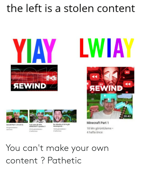 make your own: You can't make your own content ? Pathetic