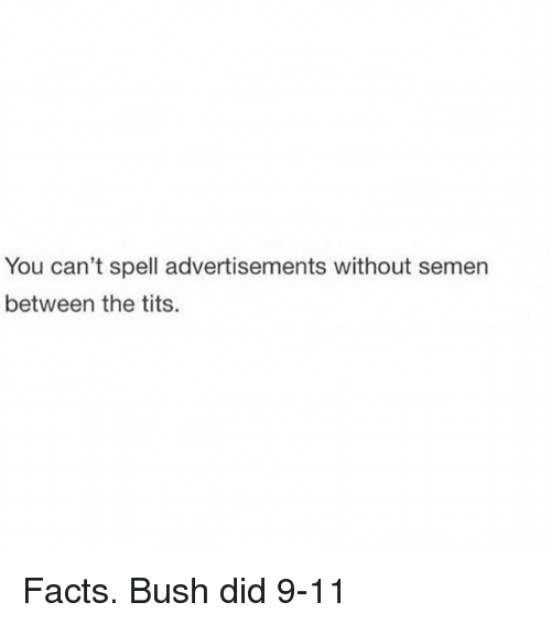 9/11, Facts, and Memes: You can't spell advertisements without semen  between the tits. Facts. Bush did 9-11