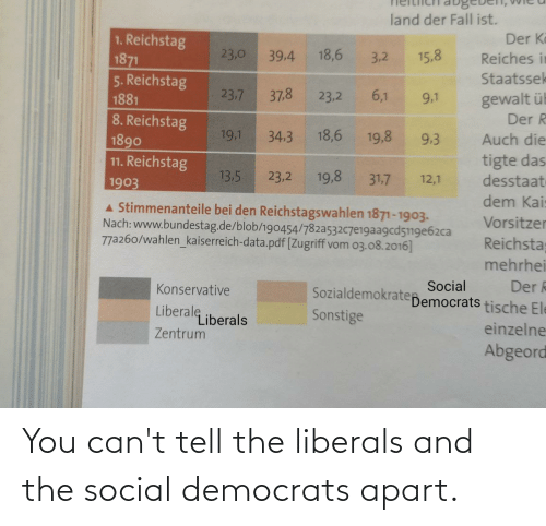 Apart: You can't tell the liberals and the social democrats apart.