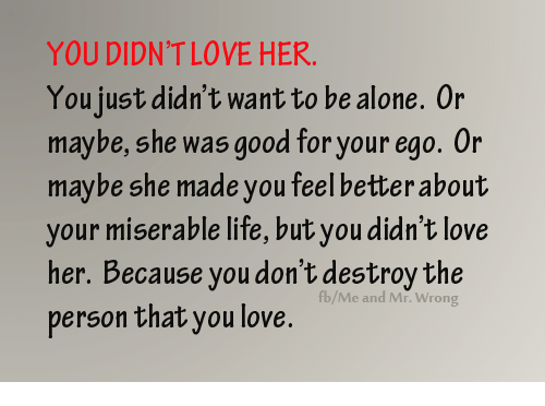 YOU DIDN'T LOVE HER You Just Didn't Want To Be Alone 0r