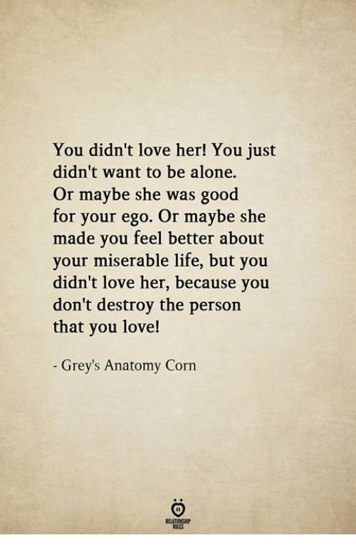Grey's Anatomy: You didn't love her! You just  didn't want to be alone.  Or maybe she was good  for your ego. Or maybe she  made you feel better about  your miserable life, but you  didn't love her, because you  don't destroy the person  that you love!  - Grey's Anatomy Corn