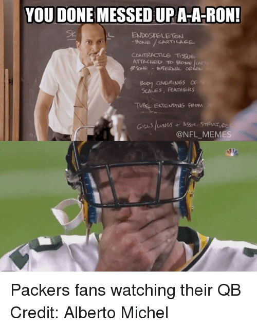NFL: YOU DONE MESSEDUPA-A-RON!  L ON  9ONE CARTILAGE  CONTRACTILE Ti9SUE.  ATTACHED TO BONE  RSONE INTERNAL OR  COVERINGS OF  SCALES, FEATHERS  @NFL MEMES Packers fans watching their QB Credit: Alberto Michel