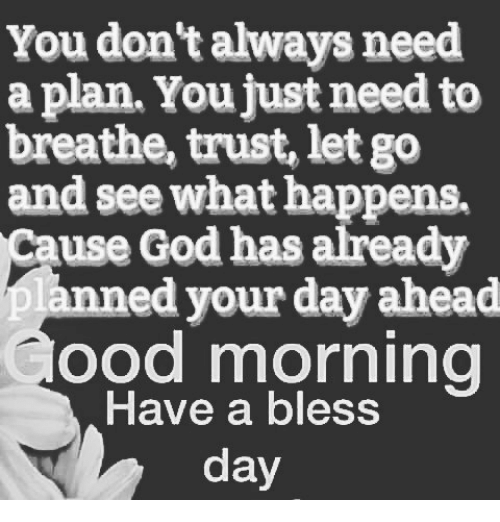 Having A Blessed Day: You don't always need  a plan. You Just need to  breathe, trust, let go  and see what happens.  Cause God has already  anned your ahead  ood morning  Have a bless  day