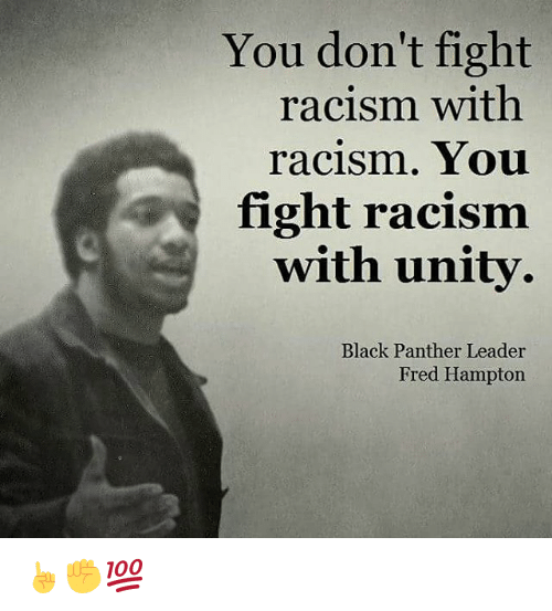 Memes, Racism, and Black Panther: You don't fight  racism with  racism. You  fight racism  with unity.  Black Panther Leader  Fred Hampton ☝✊💯