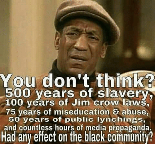 Community, Memes, and Propaganda: You don't think  500 years of slavery,  100 years of Jim Crow laws,  75 years of miseducation abuse,  50 years of public lynchings,  and countless hours of media propaganda.  Had any effect on the black community?