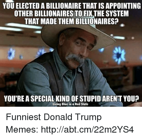 Trump Meme: YOU ELECTED A BILLIONAIRE THATISAPPOINTING  OTHER BILLIONAIRES TO FIXTHE SYSTEM  THAT MADE THEM BILLIONAIRES?  YOURE ASPECIAL KIND OF STUPIDARENTYOU?  Living Blue in a Red State Funniest Donald Trump Memes: http://abt.cm/22m2YS4