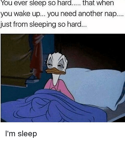 Im Sleep: You ever sleep So hard  that when  you wake up... you need another nap....  just from sleeping so hard I'm sleep