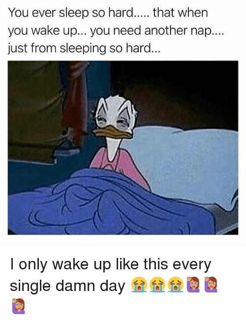 Memes, Sleeping, and Sleep: You ever sleep so hard..... that when  you wake up... you need another nap...  just from sleeping so hard. I only wake up like this every single damn day 😭😭😭🙋🏽🙋🏽🙋🏽