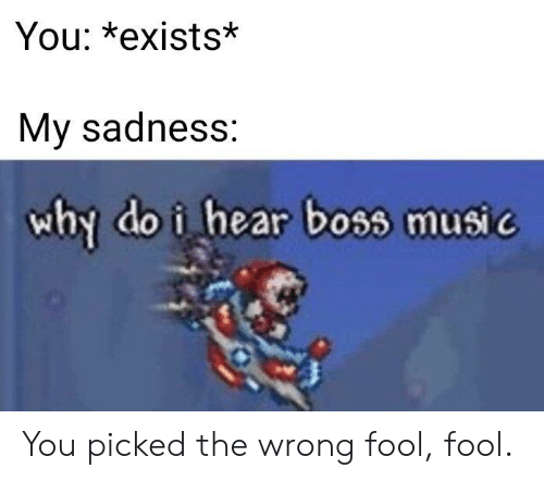 sadness: You: *exists*  My sadness:  why do i hear boss music You picked the wrong fool, fool.