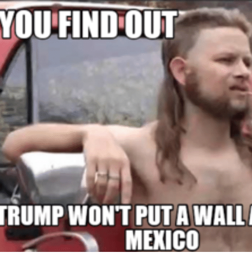 Tailpipe Man: YOU FIND OUT  TRUMP WONT PUT AWALL  MEXICO