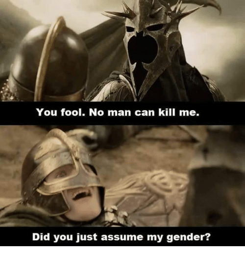 Did You Just Assume My Gender? : You fool. No man can kill me.  Did you just assume my gender?