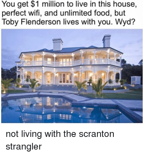 toby flenderson: You get $1 million to live in this house,  perfect wifi, and unlimited food, but  Toby Flenderson lives with you. Wyd? not living with the scranton strangler