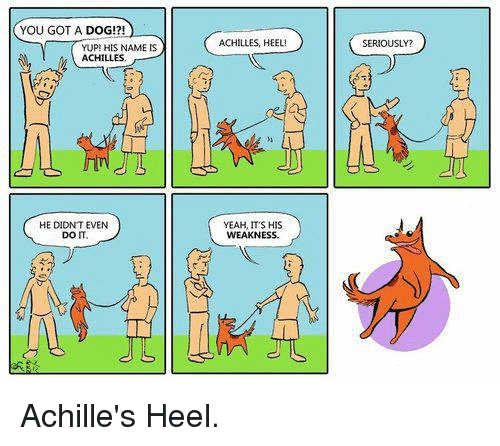 Achille: YOU GOT A DOG!?!  YUP HIS NAME IS  ACHILLES  HE DIDNTEVEN  DOIT.  ACHILLES HEEL!  YEAH, ITS HIS  WEAKNESS  SERIOUSLY? Achille's Heel.
