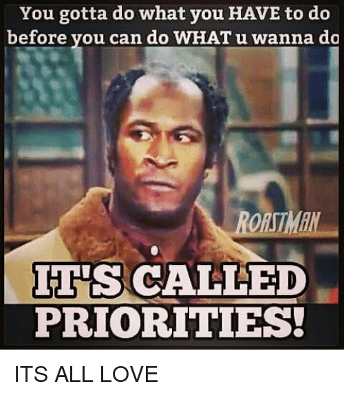 memes: You gotta do what you HAVE to do  before you can do WHAT u wanna do  ES CALLED  PRIORITIES! ITS ALL LOVE