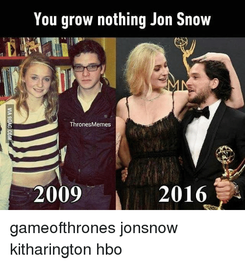 Hbo, Memes, and Jon Snow: You grow nothing Jon Snow  Thrones Memes  2009 2016 gameofthrones jonsnow kitharington hbo