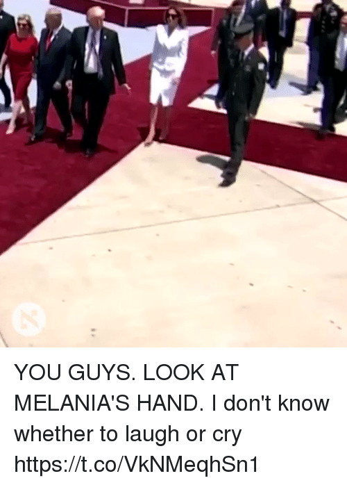 Girl Memes, Looking, and Cry: YOU GUYS. LOOK AT MELANIA'S HAND. I don't know whether to laugh or cry https://t.co/VkNMeqhSn1