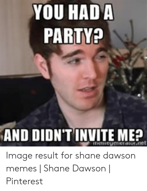 Shane Dawson Memes: YOU HAD A  PARTY?  AND DIDNT INVITE ME?  menegeneratornet Image result for shane dawson memes   Shane Dawson   Pinterest