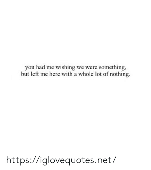 Something But: you had me wishing we were something,  but left me here with a whole lot of nothing https://iglovequotes.net/