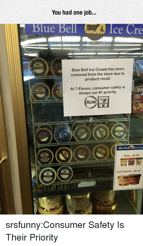 8 29: You had one job...  Blue Bell  Ice Cre  Blue Bell Ice Cream has been  removed from the store due to  product recall.  At 7-Eleven, consumer safety is  always our #1 priority.  Hor  Bloe BellIce Cre  Pints $2.99  Half Gallons $8.29  RE  BEL srsfunny:Consumer Safety Is Their Priority