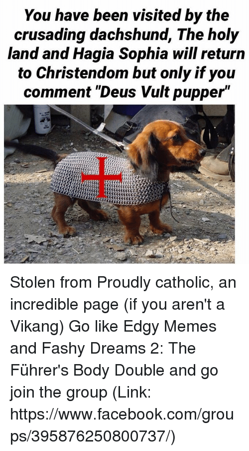 """deus vult: You have been visited by the  crusading dachshund, The holy  land and Hagia Sophia will return  to Christendom but only if you  comment """"Deus Vult pupper"""" Stolen from Proudly catholic, an incredible page (if you aren't a Vikang) Go like Edgy Memes and Fashy Dreams 2: The Führer's Body Double and go join the group (Link: https://www.facebook.com/groups/395876250800737/)"""