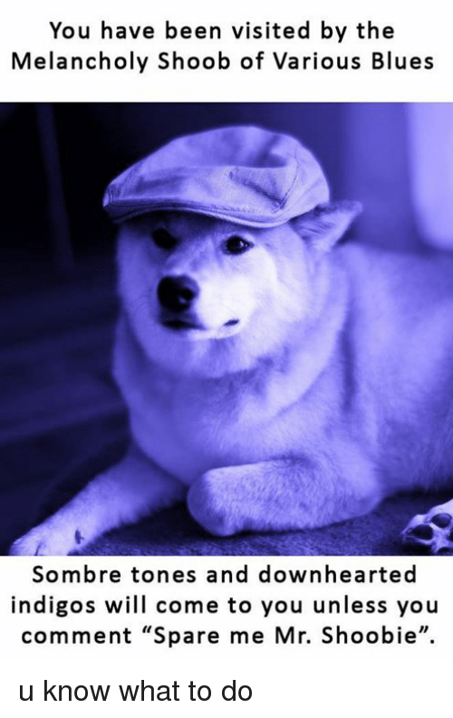 "Dogs: You have been visited by the  Melancholy Shoob of various Blues  Sombre tones and downhearted  indigos will come to you unless you  comment ""Spare me Mr. Shoobie"". u know what to do"
