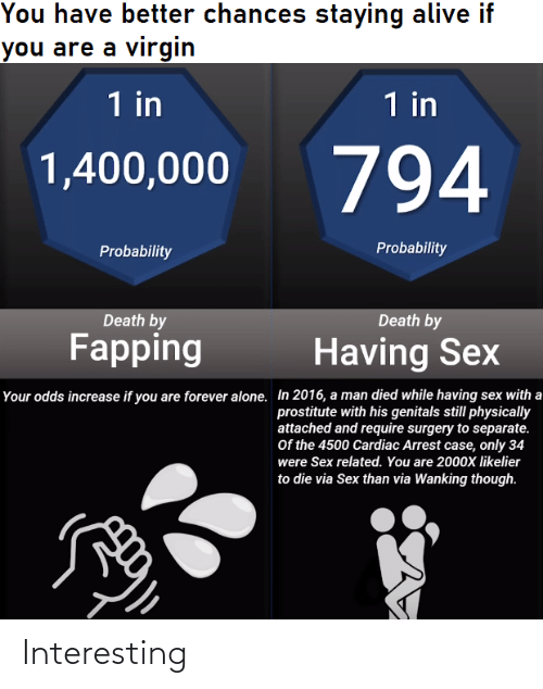 staying alive: You have better chances staying alive if  you are a virgin  1 in  1 in  794  1,400,000  Probability  Probability  Death by  Death by  Fapping  Having Sex  Your odds increase if you are forever alone. In 2016, a man died while having sex with a  prostitute with his genitals still physically  attached and require surgery to separate.  Of the 4500 Cardiac Arrest case, only 34  were Sex related. You are 2000X likelier  to die via Sex than via Wanking though. Interesting